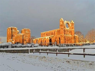 Elgin Cathedral in the snow